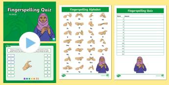 Animals Fingerspelling Quiz PowerPoint - sign language, spellings, whole class activity, spelling quiz, bsl, auslan, nzsl, british sign langu
