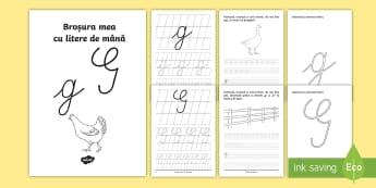 """Scrierea literelor """"g"""" și """"G"""" de mână Broșură cu activități - alfabetul, scriere, litere, de mână, grafisme"""