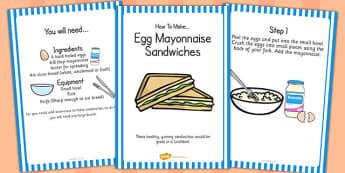 Egg Mayonnaise Sandwich Recipe Cards - egg, mayonnaise, recipe