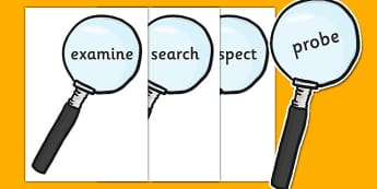 Investigation Area Words on Magnifying Glasses - Minibeasts, investiation, area, knowledge and understanding of the world, words, keywords, magnifying glass, science, investigate