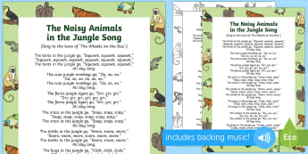 The Noisy Animals in the Jungle Song - Jungle and Rainforest, animal songs, forest, amazon, elephant, frog, crocodile, parrot, singing, son