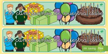 Los cumpleaños de nuestra clase Pancarta - pancarta, los cumpleaños de nuestra clase, cumpleaños, cumple, cumples, años, cartel, mural, feli