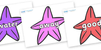 Next 200 Common Words on Starfish to Support Teaching on The Rainbow Fish - Next 200 Common Words on  - DfES Letters and Sounds, Letters and Sounds, Letters and sounds words, Common words, 200 common words
