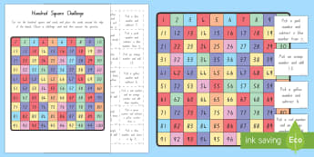 Hundred Square Challenge Sheet - New Zealand, maths, hundred square, challenge, maths challenge, Years 1-3, 100 square