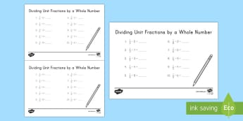Dividing Unit Fractions by a Whole Number Activity Sheet - division, fractions, unit fractions, whole number, 5th grade, worksheet