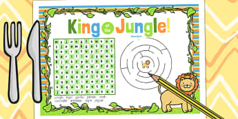 Jungle Themed Birthday Party Activity Place Mats - jungle, party