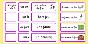 Rio 2016 Olympics Football Word Cards French - french, Football, Olympics, Olympic Games, sports, Olympic, London, 2012, word card, flashcards, cards, activity, Olympic torch, events, flag, countries, medal, Olympic Rings, mascots, flame, compete