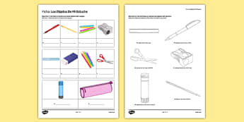 Los objetos de mi estuche In My Pencil Case Spanish Activity Sheet Translation - spanish, pencil case items, estuche, ficha, worksheet, clase, colours, writing, escribir