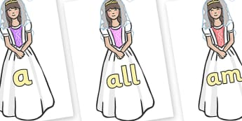 Foundation Stage 2 Keywords on Princesses - FS2, CLL, keywords, Communication language and literacy,  Display, Key words, high frequency words, foundation stage literacy, DfES Letters and Sounds, Letters and Sounds, spelling