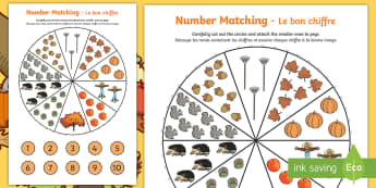 Number Matching Pegs Autumn Themed Activity Sheet English/French - autumn, matching, pegs, seasons, september, october, numbers, maths, numeracy,matching wheel, Worksh