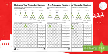 Christmas Tree Triangular Numbers Differentiated Maths Activity - Christmas N.I. triangular numbers, sequences, patterns, number sequence, number relationships, trian