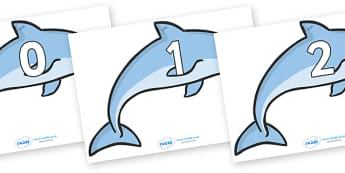 Numbers 0-100 on Dolphins - 0-100, foundation stage numeracy, Number recognition, Number flashcards, counting, number frieze, Display numbers, number posters