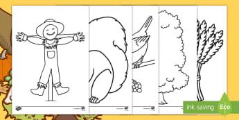 أوراق كبيرة للتلوين في موضوع الخريف  - أنشطة، الخريف، فصل الخريف، تلوين، رسم، ألوان، عربي، فص