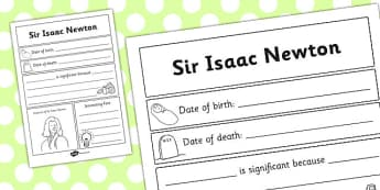 Sir Isaac Newton Significant Individual Writing Frame - writing