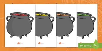 Editable Halloween Cauldrons (A4) English/Portuguese - cauldrons, A4, display, poster, Halloween, pumpkin, witch, bat, scary, black cat, mummy, grave stone
