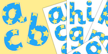 Paper Saving Blue Yellow Stars Display Alphabet Numbers, Symbols