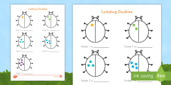 Ladybug Doubles to 10 Activity Sheet  - math, doubles, doubling, worksheet