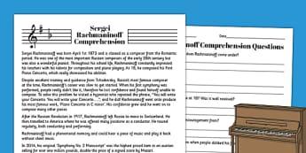 Sergei Rachmaninoff Reading Comprehension Activity - rachmaninoff, sheet