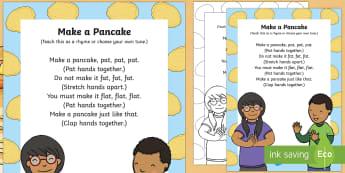 Make a Pancake Action Rhyme - Shrove Tuesday, make a pancake, action, rhyme