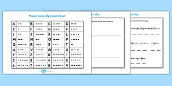 Morse Code Chart and Activity Sheet Pack - morse code chart and activity sheets, morse code, chart, activity, sheets, workshee, sheet, code, alphabet, morse code alphabet, worksheet