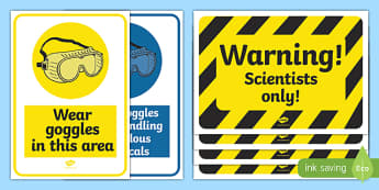 Science Lab Role Play Warning Signs - laboratory, scientist, science, role play, play, warning signs, warning, danger, attention, professor, experiment, bottle, chemistry, chemicals