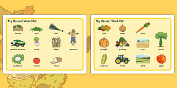 Harvest Pre-Teaching Word Mat - harvest, pre-teaching, word mat