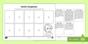 Scottish Significant Individuals David Livingstone Sequencing Worksheet - Scottish significant individual, explorer, Christian missionary, Africa, Victoria Falls, Zambezi, slave trade, anti-slave