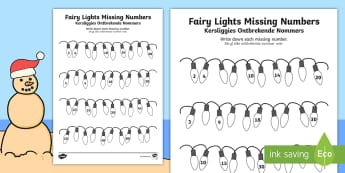 Christmas Fairy Light Missing Numbers: Counting in 2s, 3s, 5s and 10s Activity Sheet English/Afrikaans - December, celebrate, tradition, maths, Jesus, wiskunde, EAL