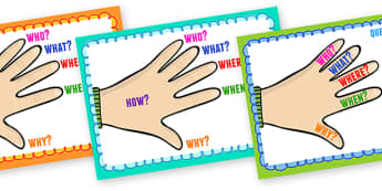 W Question Hand Posters - question, hand, poster, visual aid