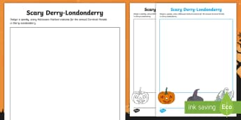 Scary Derry-Londonderry Activity Sheet - Halloween, dressing up, Festival, Samhain, parade, carnival, worksheet