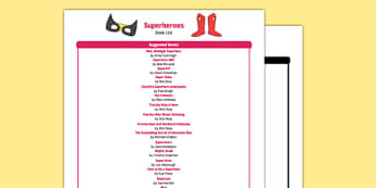 Superheroes Book List - EYFS, Early years, stories, non-fiction, superhero
