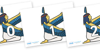 Numbers 0-31 on Egyptian - 0-31, foundation stage numeracy, Number recognition, Number flashcards, counting, number frieze, Display numbers, number posters