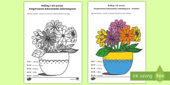 Antystresowa kolorowanka matematyczna Rośliny - mnożenie, pomnóż, iloczyn, tabliczka, mnożenia, razy, przez, kolorowanka, kolorowanki, pokoloruj