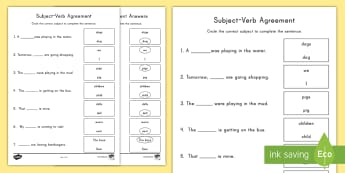 Subject-Verb Agreement Activity Sheet - Subject, Verb, Subject-Verb Agreement, Grammar, ELA, Common Core, worksheet