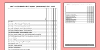 1999 Curriculum 4th Class Maths Shape and Space Assessment Group Checklist - roi, gaeilge, maths, curriculum, 1999
