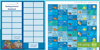 KS2 Under the Sea Themed Reading Sticker Reward Bookmarks - Y3, Home Readers, Reading Log, Stickers, Motivation