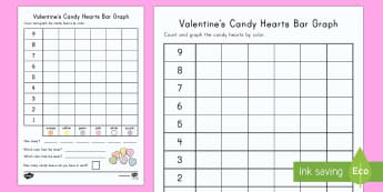 Valentine's Day Candy Heart Count and Graph Activity Sheet - Valentine's Day USA, february 14th, candy hearts, love hearts