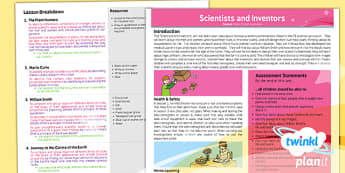 Science: Scientists and Inventors Year 3 Planning Overview