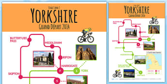 Tour de France 2014 Large England Route Maps - le tour