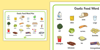 Gaelic Food Word Mat - gaelic, food, word mat, word, mat, eat