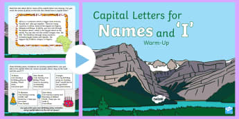 Year 1 Capital Letters for Names and 'I' Warm-Up PowerPoint - Spag, revision, morning starter, people, places, days of the week