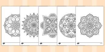 Adult Colouring Mandala Themed Mindfulness Colouring Sheets - colouring, pd, fine motor skills, well being, stress, relax, unwind, early years, ks1, ks2, art, home learning, display, religion, RE, Hindu, adult colouring