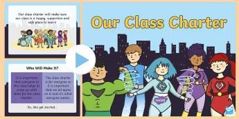 Our Class Charter Superhero-Themed PowerPoint - Our, Class, Charter, Superhero, Themed, PowerPoint, Classroom, Behaviour, Management