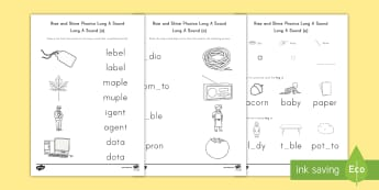Rise and Shine Phonics Long A Sound Morning Activity Sheets - long vowels, long a, morning work, phonics, Worksheets, ai, ay, ei, eigh, a-e