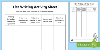 List Writing Activity Sheet - lists, items to remember, activity sheet, worksheet, creative writing, scenarios,Irish