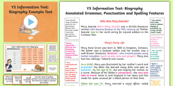 Y5 Information Text: Biography Model/Example Text - Example Texts Y5, genre, WAGOLL, exemplar, non-fiction, text, text features, SPaG, GPS, example, exe, ARE, age-related example, model, model text, age-related model