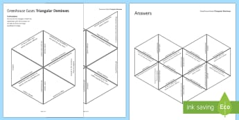 Greenhouse Gases Tarsia Triangular Dominoes - Tarsia, gcse, chemistry, greenhouse gases, greenhouse gas, climate change, global warming, atmospher, plenary activity