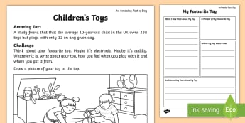 My Favourite Toy Fact File Activity Sheet - Amazing Fact Of The Day, amazing fact a day april, activity sheets, Worksheet, powerpoint, starter,