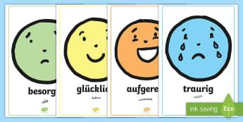 Deutsch Arabische Emotionen Gesichter Poster für die Klassenraumgestaltung - Emotionen, Poster, für die Klassenraumgestaltung, Gefühle, Mimik, Poster, Deutsch lernen, Deutsch-