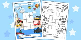 Transport Sticker Stamp Reward Chart - transport, sticker, stamp
